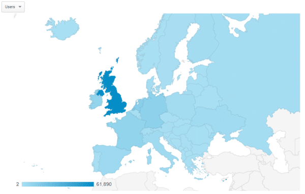 google analytics map of users coming from european countries